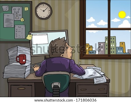 working hard at home, longing look to a sunny day outside, vector illustration - stock vector