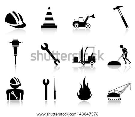 working icons black - stock vector