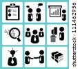 working in office and organization icon set - stock photo