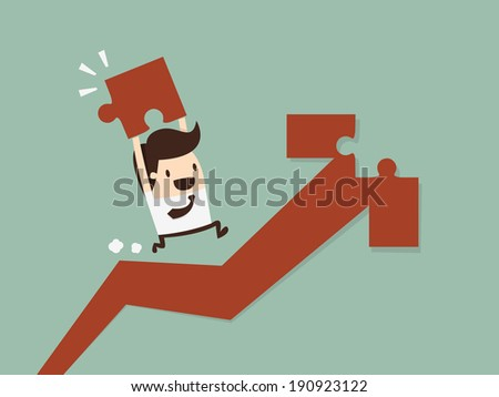 Working on an arrow shaped jigsaw puzzle. Concept image of making growth strategy - stock vector