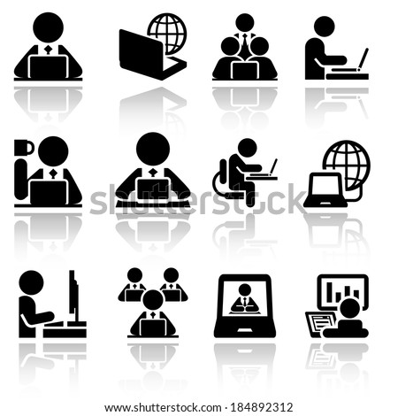 Working on computer vector icons set . EPS10. - stock vector