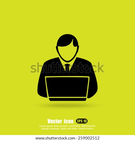 working on laptop vector icon - stock vector