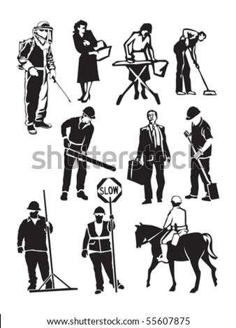 working people - stock vector