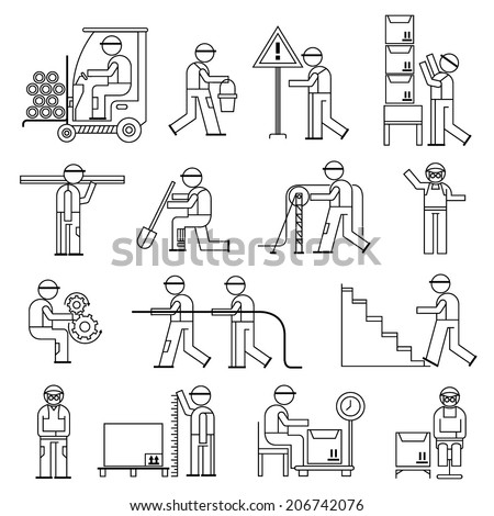 working people in workshop, construction site, cargo industry, line theme - stock vector