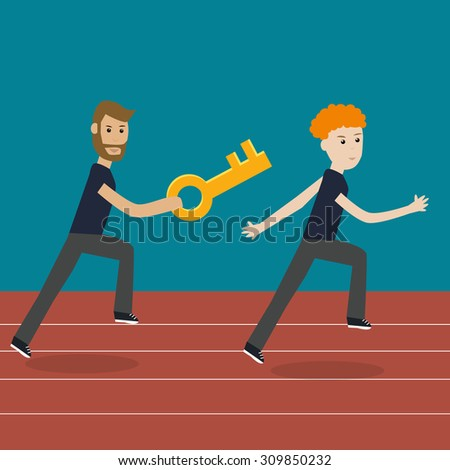 Working people on the relay race competition  together with the key  for make the successful jobs   eps10 vector. illustration EPS10.  - stock vector