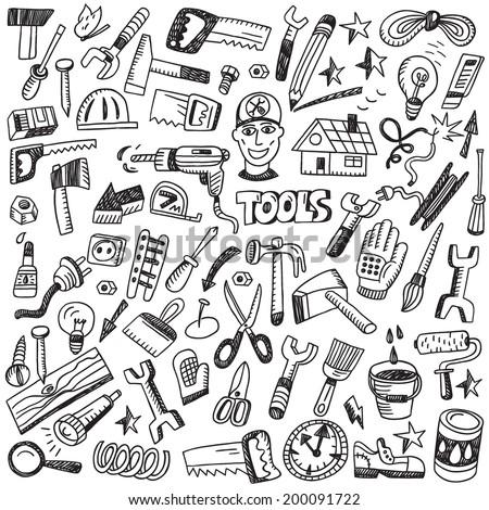 working tools - doodles set - stock vector