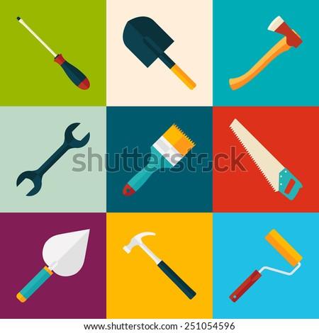 working tools icon set. trendy flat vector illustration - stock vector