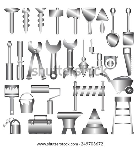 Working tools metal icon - stock vector