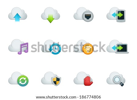 Working with Internet Cloud Icon Set