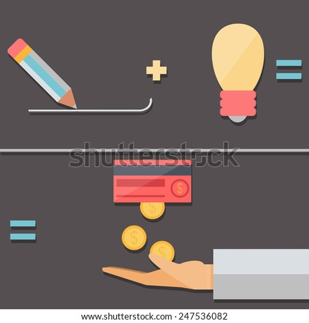 Working with the idea, income, flat design - stock vector