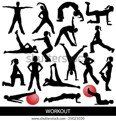workout silhouettes - stock vector