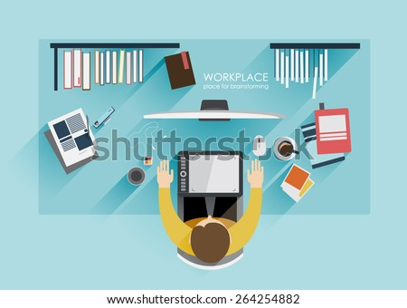 workplace  brainstorming in flat style. Workplace designer freelance worker. Top view. Concept of the coworking center. Business meeting. Shared working environment.  - stock vector
