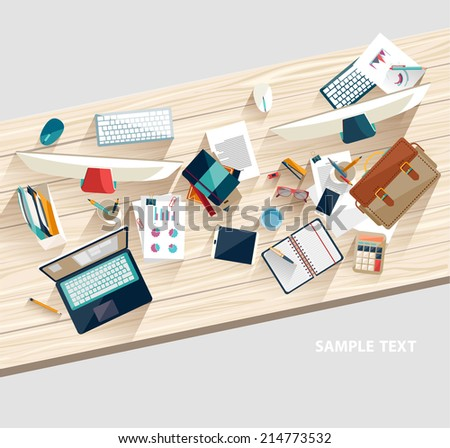 Workplace concept. Flat design - stock vector