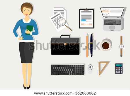 Workplace concept. Flat design modern vector illustration. - stock vector