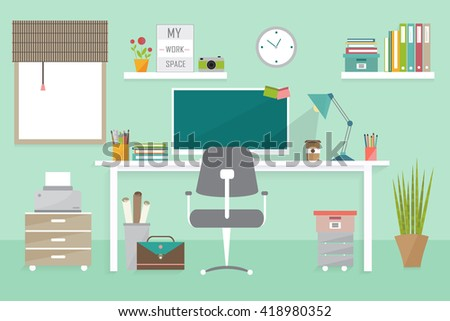 workplace concept, modern home office interior, freelance office - stock vector