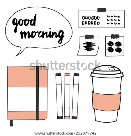 Workplace elements set with notebook, markers, stickers and coffee paper cup. Hand drawn vector illustration. - stock vector