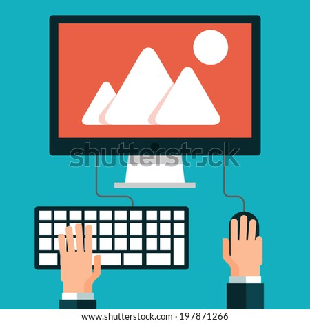 Workplace. Hand on laptop - stock vector