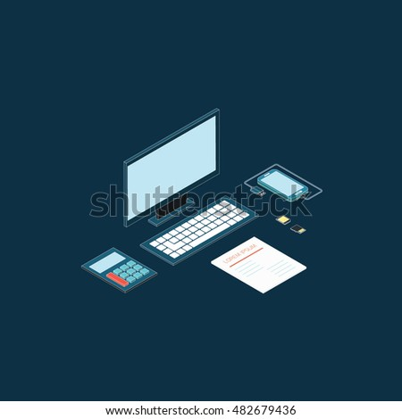 Workplace isometric elements set with notebook  document vector illustration