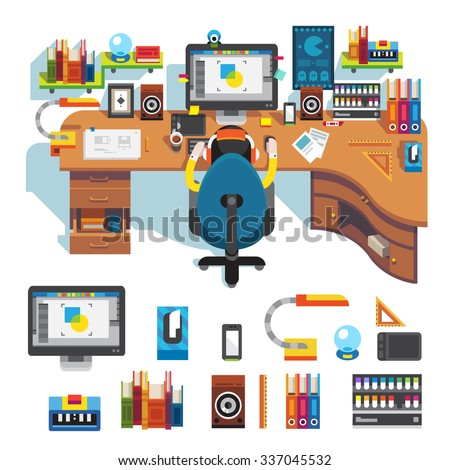 Workplace of design pro:  table, computer, monitor screen,  camera on it, lamp, clock, tablet, chair, designer on work, picture. Flat vector stock isolated set.  - stock vector