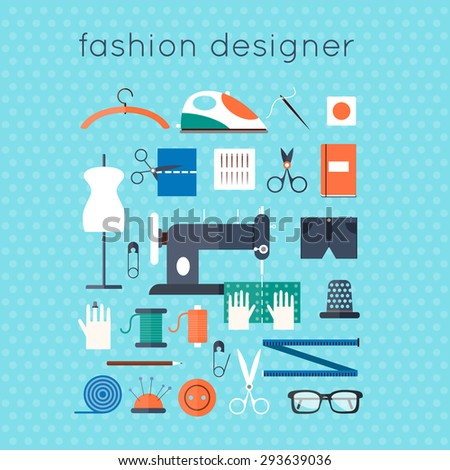 Workplace of designer clothes. Flat style vector illustration. - stock vector
