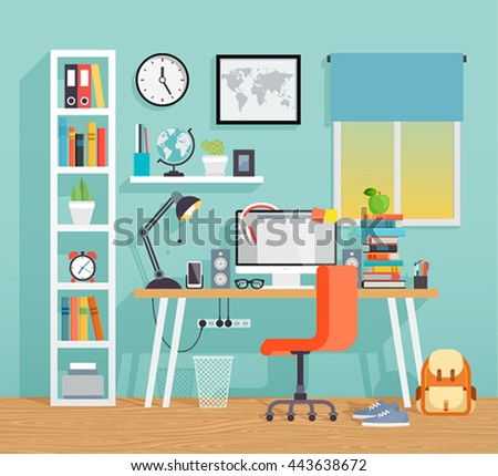 Workplace of the schoo kid - flat style. Vector illustration. - stock vector