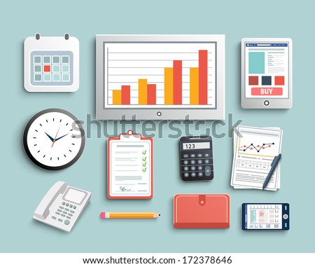 Workplace office and business work elements set. Mobile devices and documents - stock vector