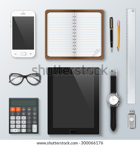 Workplace office and business work elements set. Mobile phone, calculator, notebook, pen, tablet, watches and other office things and equipment, finance and marketing objects, development tools. - stock vector