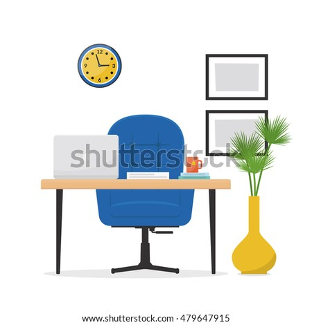 workplace office desk laptop armchair business stock vector