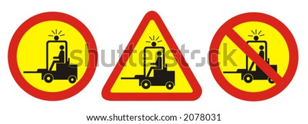 workplace safety - sings regarding forklift movements - vector illustrations - stock vector