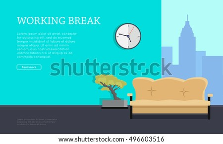 workplace vector concept flat design working break office room with sofa bonsai tree bonsai tree office window