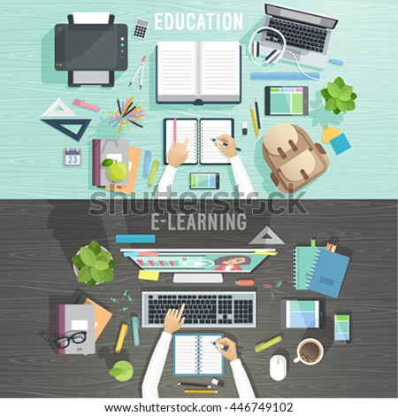 Workplace vector illustration.Education and e-learning concepts. - stock vector