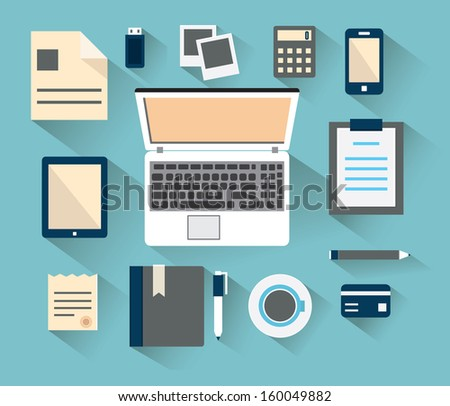 Workplace with mobile devices and documents. Flat style with long shadows - vector illustration - stock vector