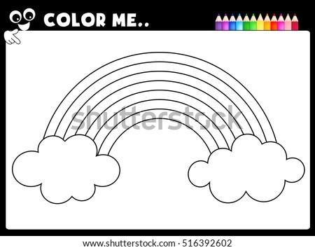 Worksheet Coloring Page Rainbow Worksheet Preschool Stock Vector ...
