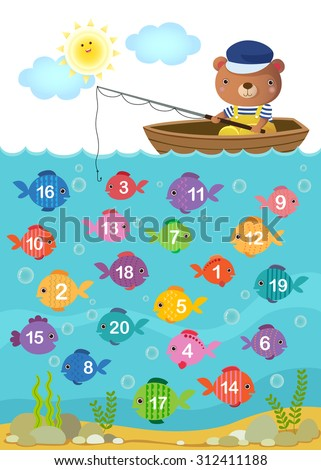 Worksheet Kindergarten Kids Learn Counting Number Stock Vector ...
