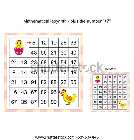 Worksheet Game Kids Mathematical Labyrinth Plus Stock Vector