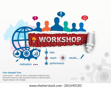 Workshop concept and group of people. Set of flat design illustration concepts for business, consulting, finance, management, career, human resources.   - stock vector