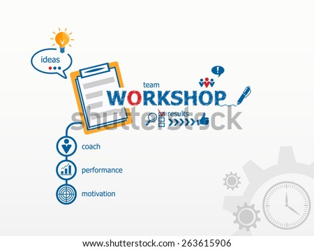 Workshop concept and notebook. Hand writing Workshop with blue marker.  - stock vector