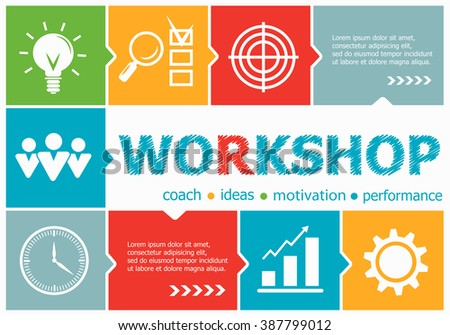 Workshop design illustration concepts for business, consulting, management, career. Workshop concepts for web banner and printed materials. - stock vector