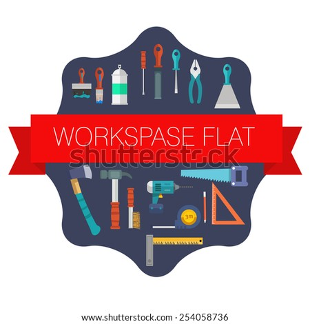 Workspace carpenter tools trendy flat icon, on wood background vector stock - stock vector