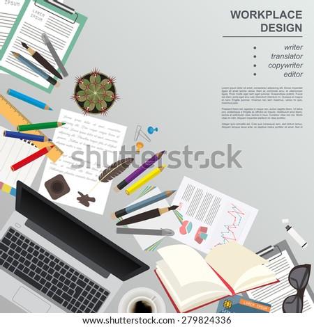 Workspace of the writer, translator, copywriter, editor. Mock up for creating your own modern creative office desktop workshop style. Flat design vector mock up. Vector illustration - stock vector