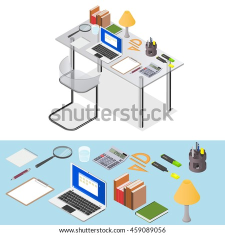 Workspace. Transparent Desk with stationery and a laptop for work. Workplace home. Element of the interior of the Cabinet. The place of the freelancer. Vector illustration. - stock vector