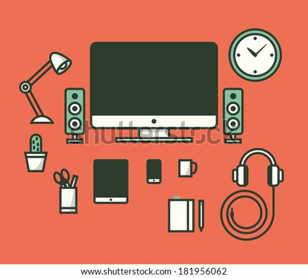Workspace. Vector illustration. - stock vector