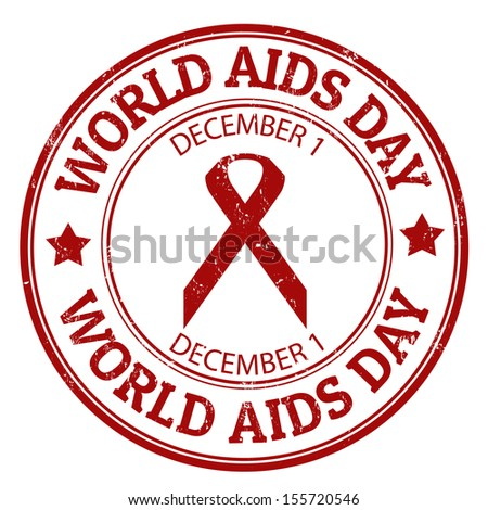 World Aids day grunge rubber stamp, vector illustration - stock vector