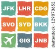 world airports icons - stock photo