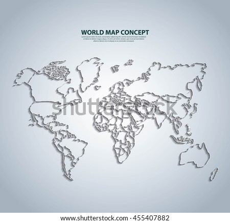 World and Map concept represented by earth icon. White and illuminated illustration.  - stock vector