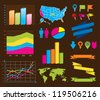 World and USA maps, navigation icons, pins, graphs, banners and other design elements for info graphics. - stock vector