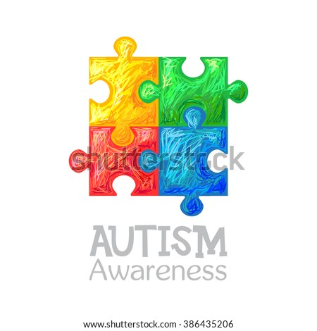 World autism awareness day. Colorful puzzle vector design hand drawn sign. Symbol of autism. Sketch. Medical flat illustration. Health care - stock vector