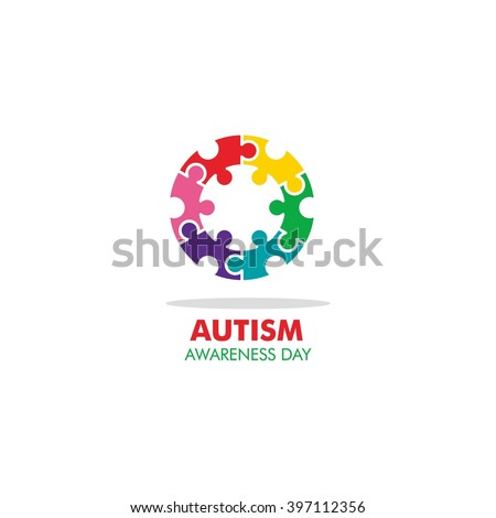 World autism awareness day logo design template. Vector illustration. colorful puzzles symbol. - stock vector
