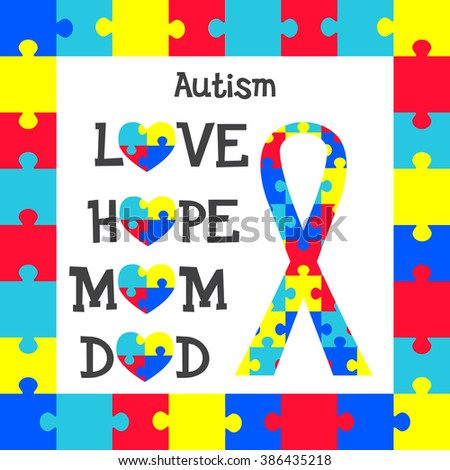 World Autism Awareness Day Set Puzzles Stock Vector HD (Royalty Free ...