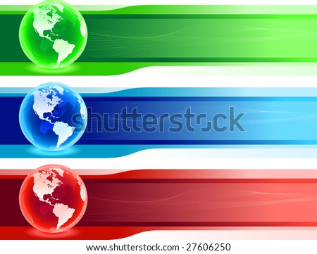 World banner set vector illustration. All elements are layered separately in vector file. - stock vector